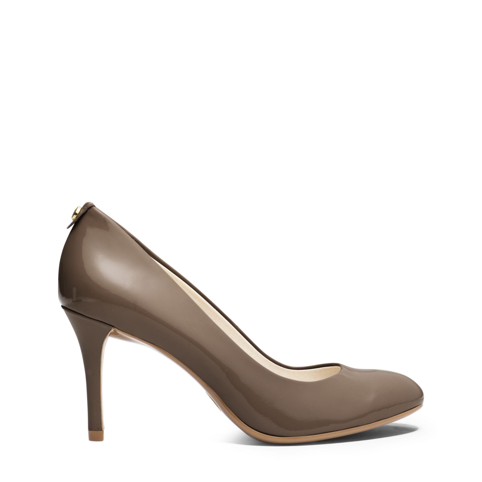 lyst michael kors flex patent leather mid heel pump in brown. Black Bedroom Furniture Sets. Home Design Ideas