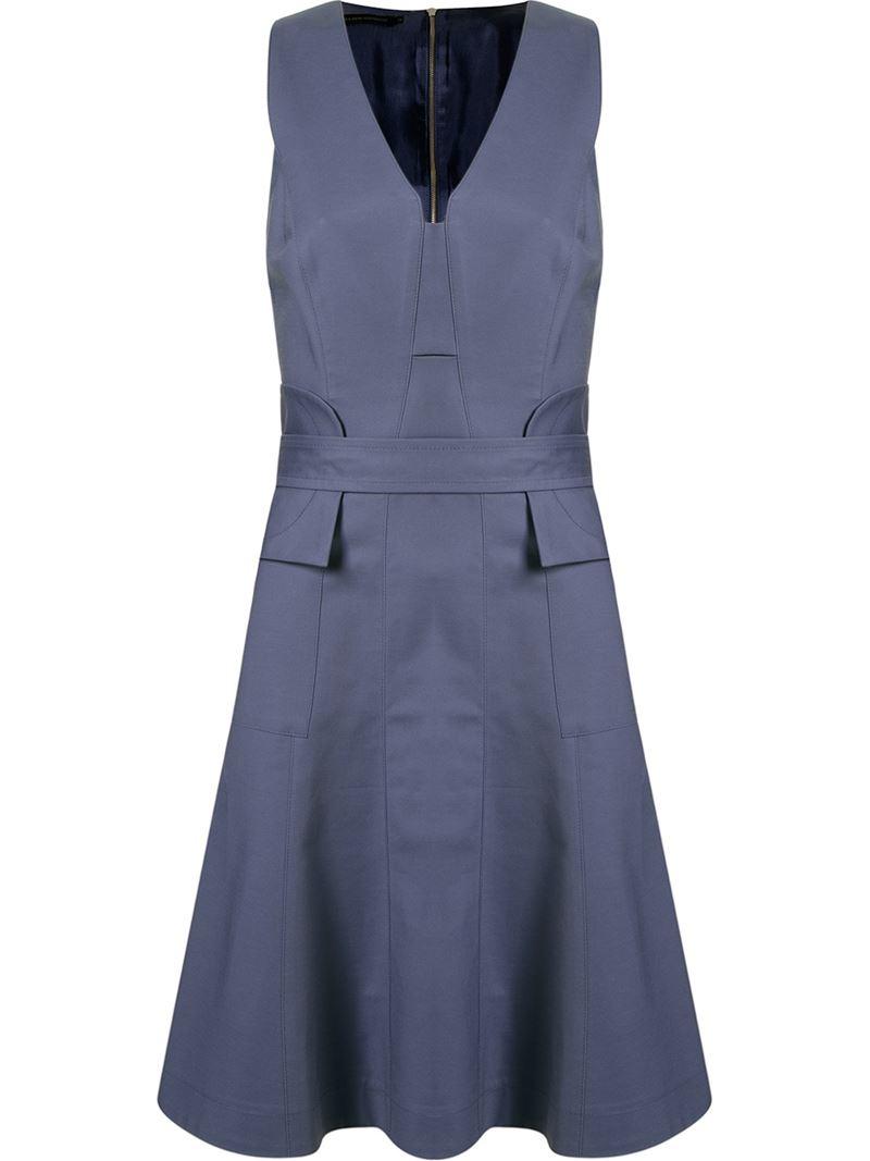 giuliana romanno belt flared dress in blue lyst