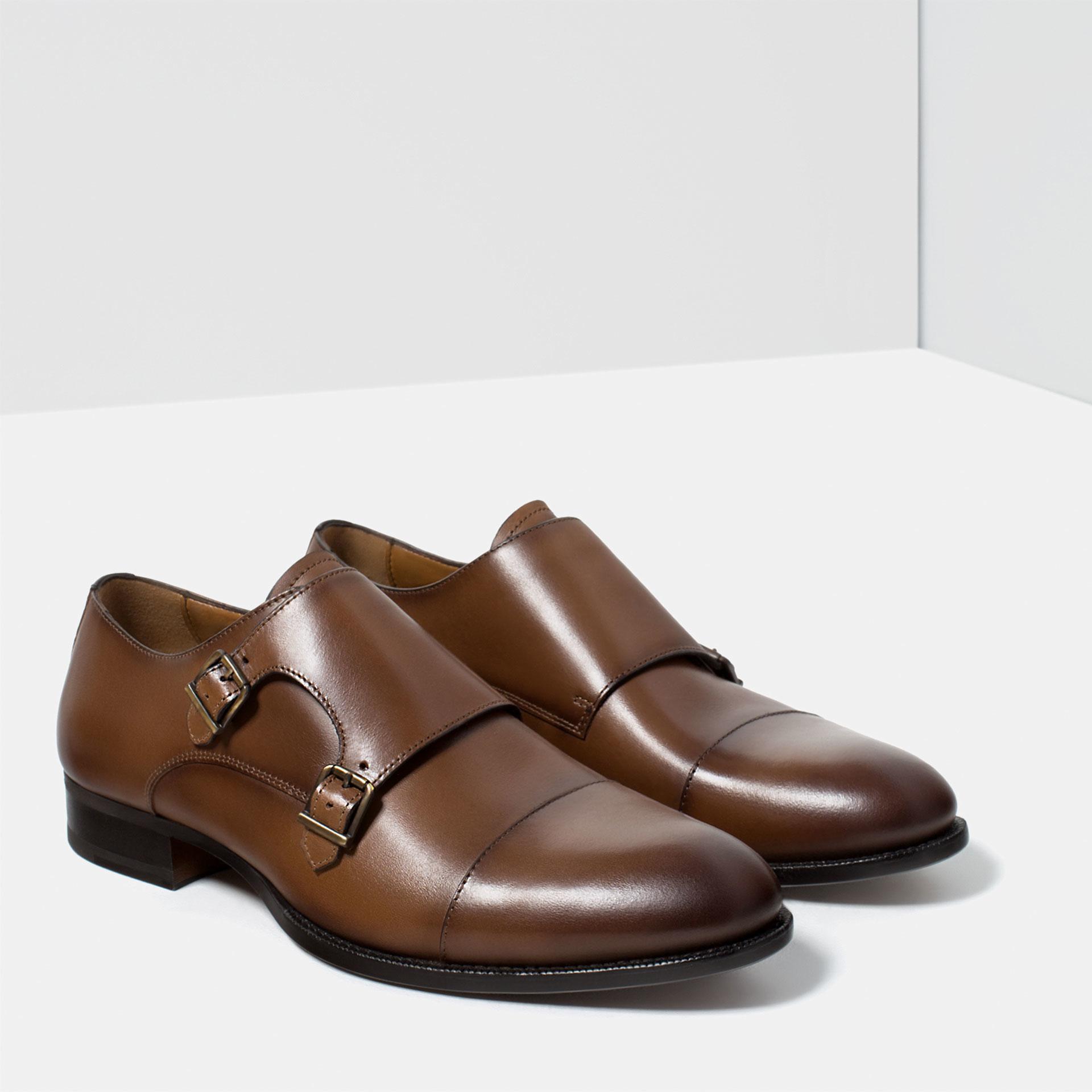 Zara Brown Monk Shoes