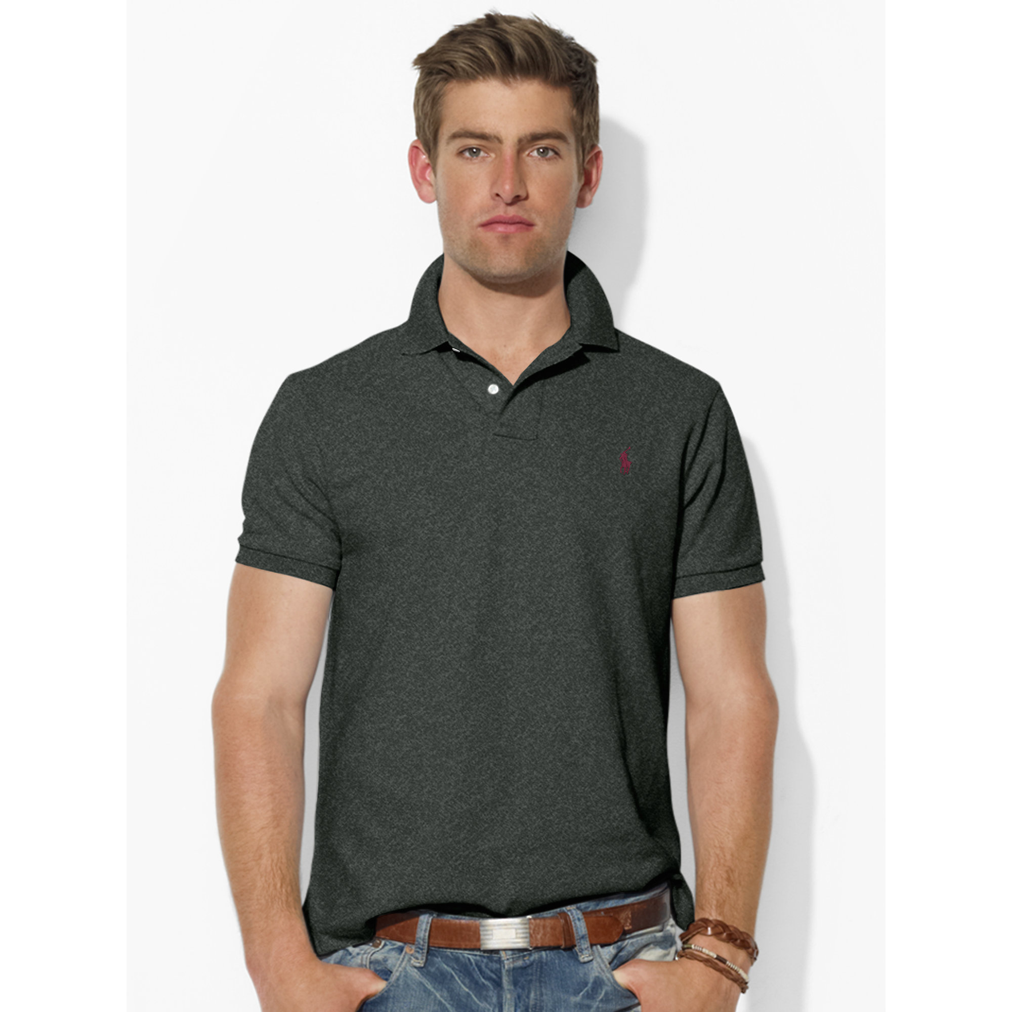 Polo ralph lauren custom fit mesh polo shirt in black for for Black fitted polo shirt