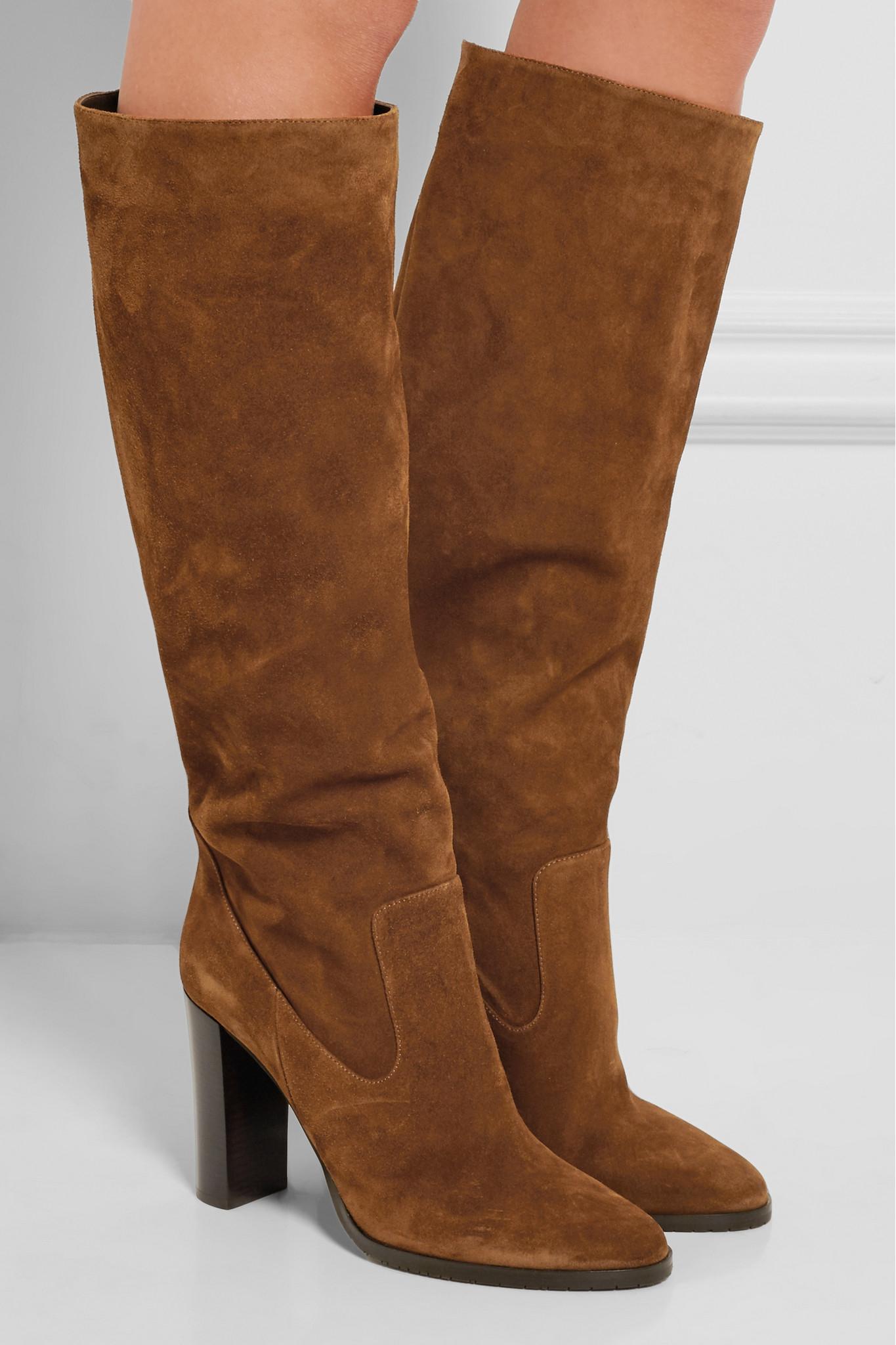 Jimmy Choo Honor Suede Knee Boots in Tan (Brown)