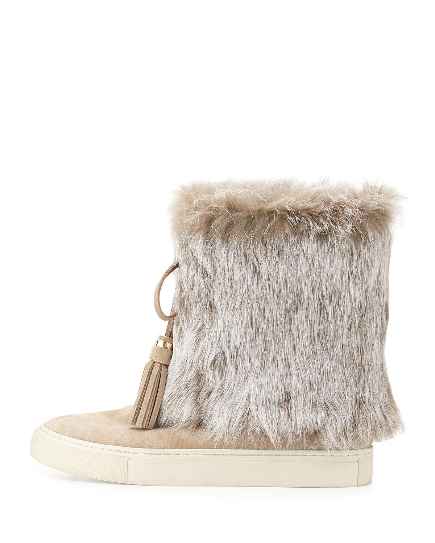 005c4e7f64fb Tory Burch Anjelica Fur-Cuff Boot in Natural - Lyst