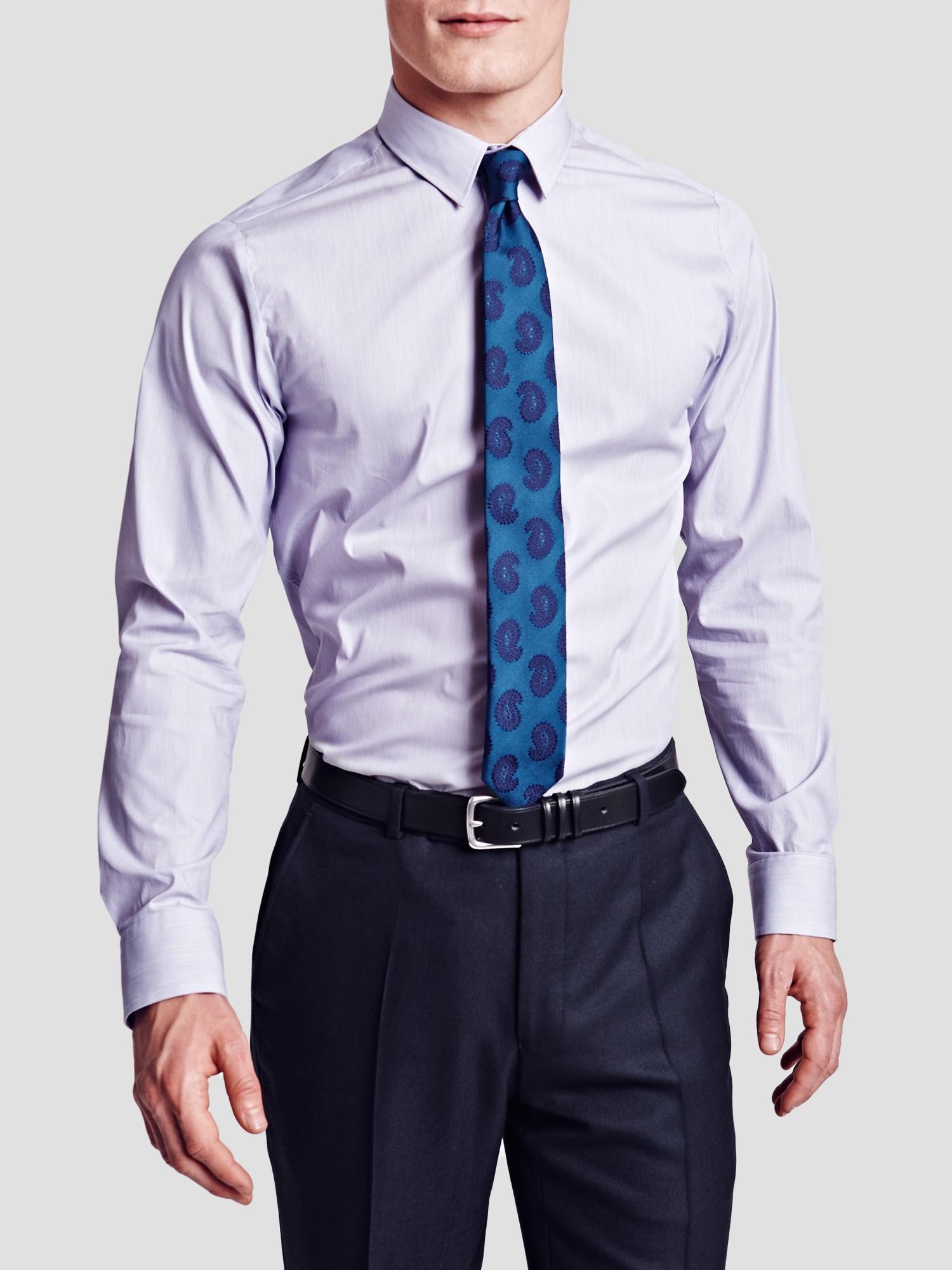 Thomas pink herland stripe super slim shirt in purple for for Super slim dress shirts