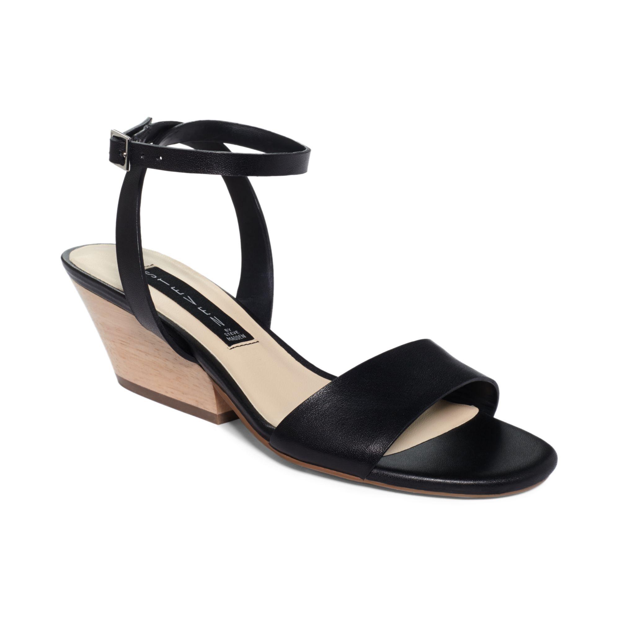 steven by steve madden ankle strap caleyy sandals in black lyst. Black Bedroom Furniture Sets. Home Design Ideas