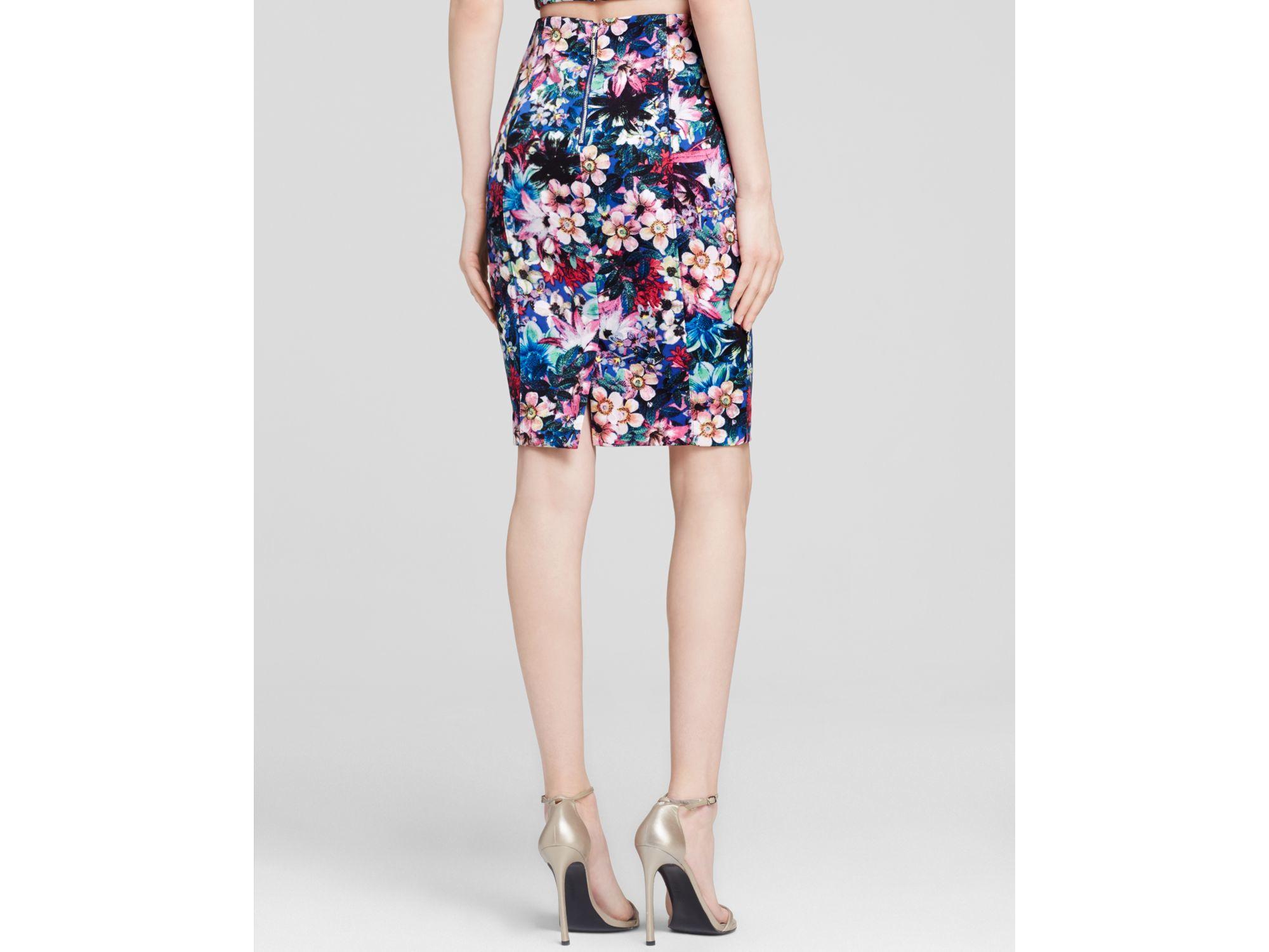 Guess Skirt - High Waist Floral Pencil | Lyst