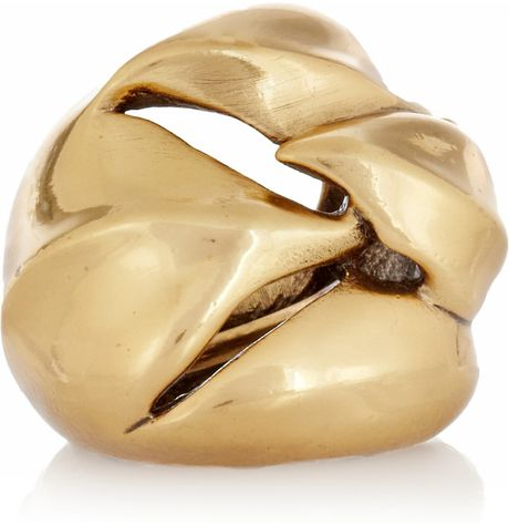 Oscar De La Renta 24karat Goldplated Ring in Gold