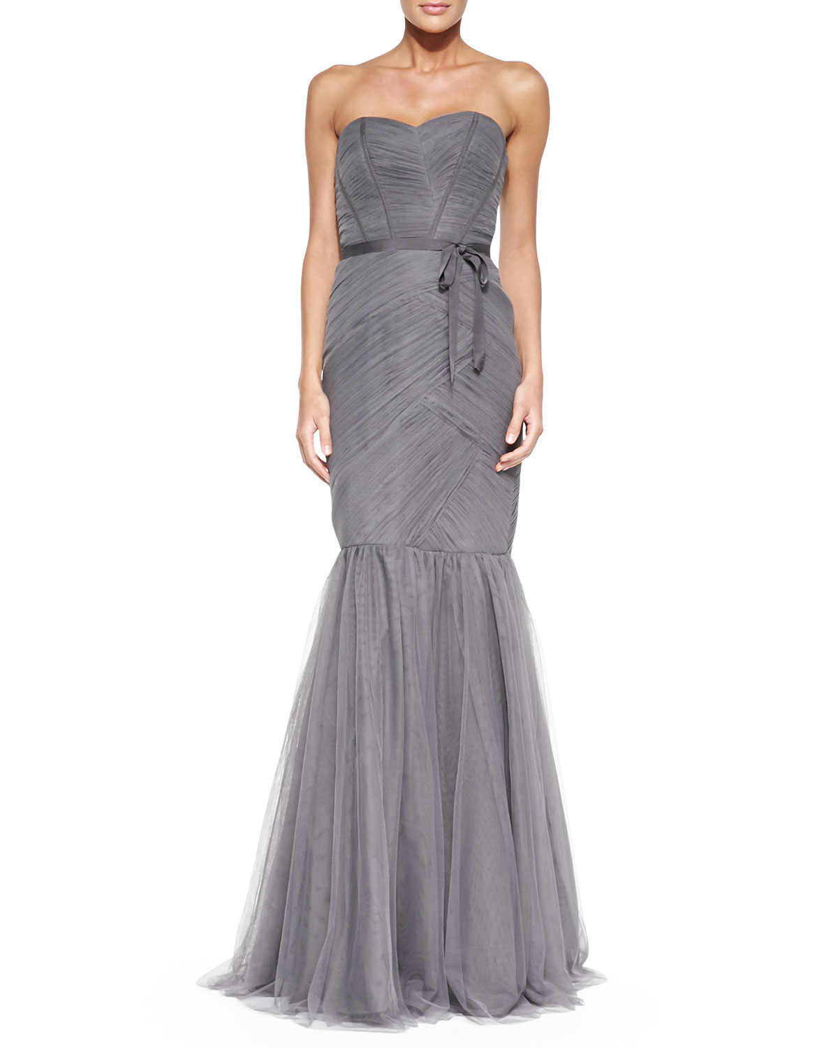 Monique lhuillier Strapless Ruched Tulle Gown in Gray