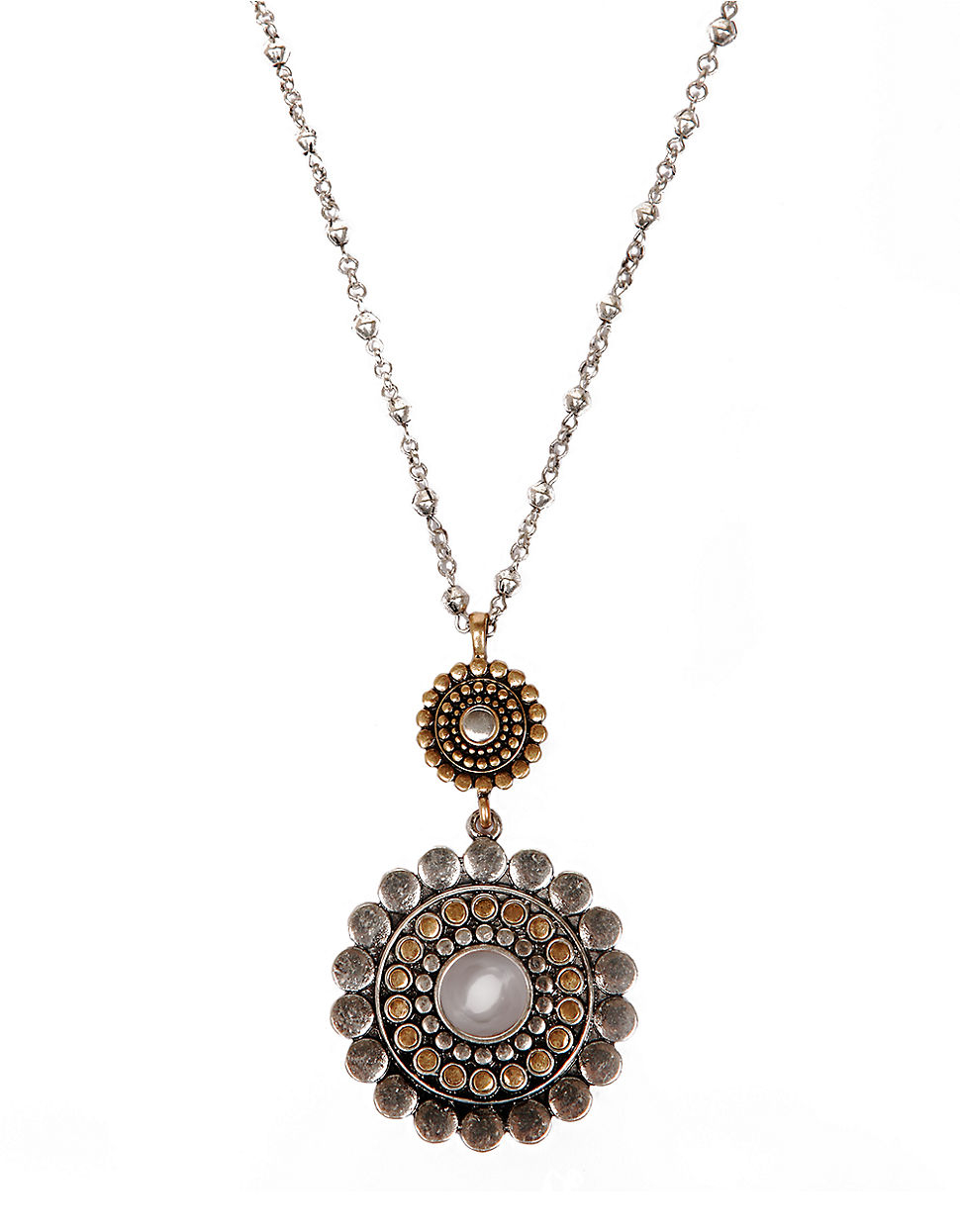 Lyst - Lucky brand Bali Two-tone Double Pendant Necklace in Metallic
