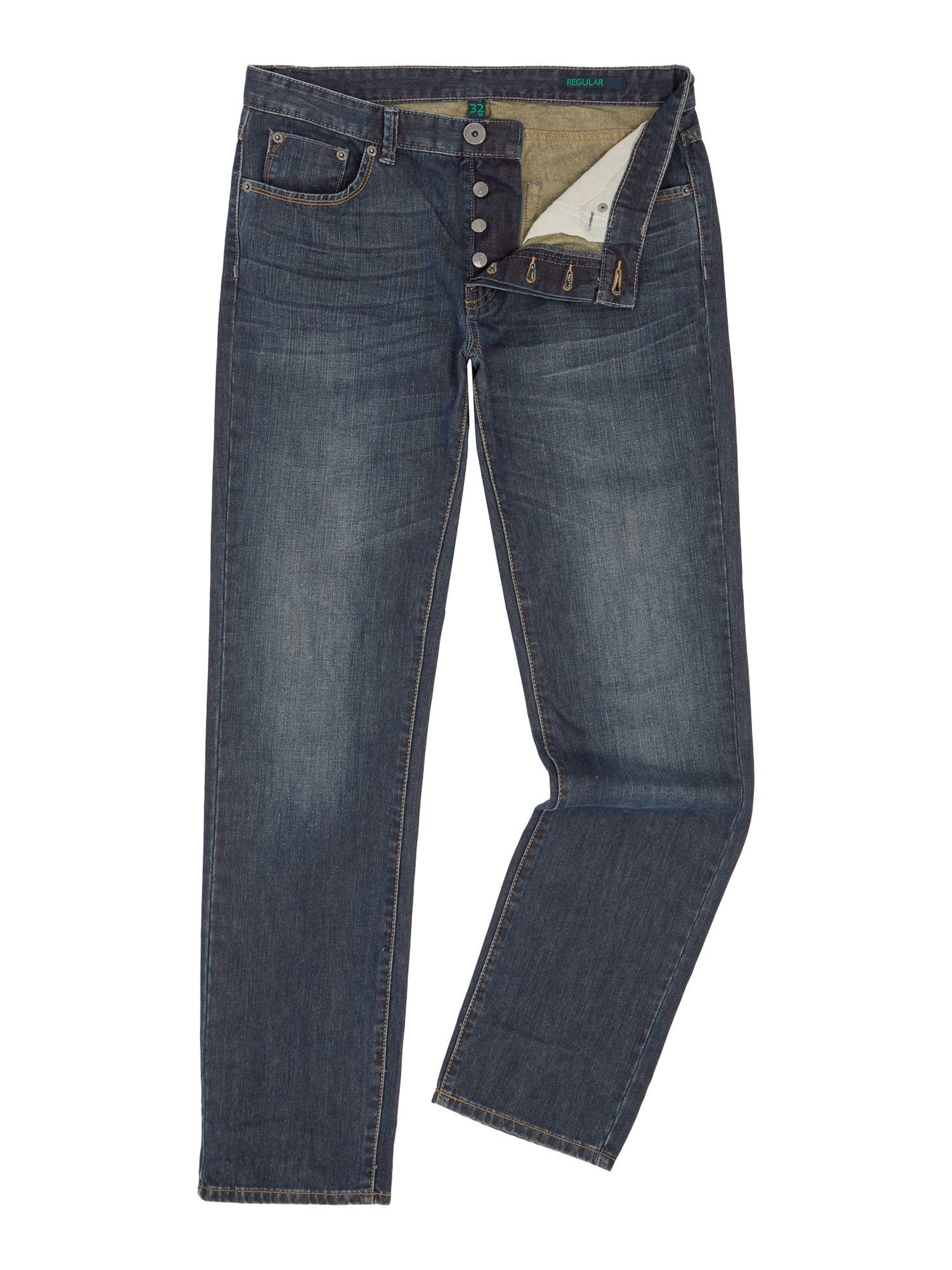 Benetton Denim Mid Wash Regular Fit Jeans in Denim (Blue) for Men