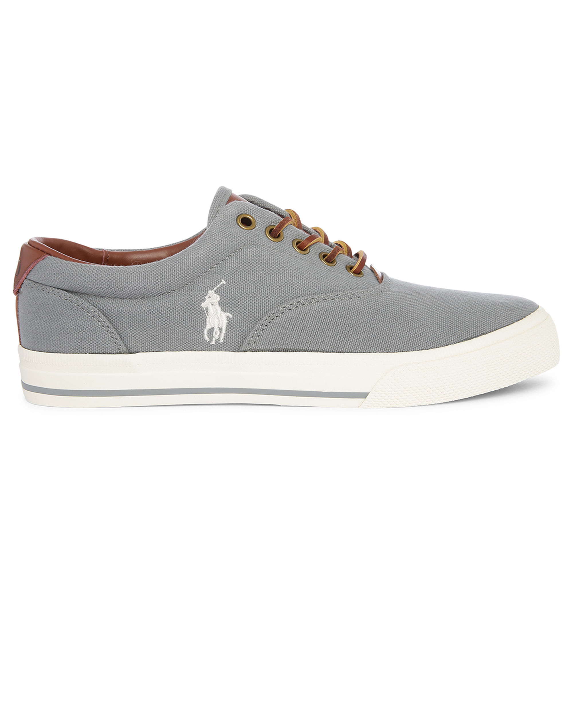 polo ralph grey vaughn canvas sneakers in gray for