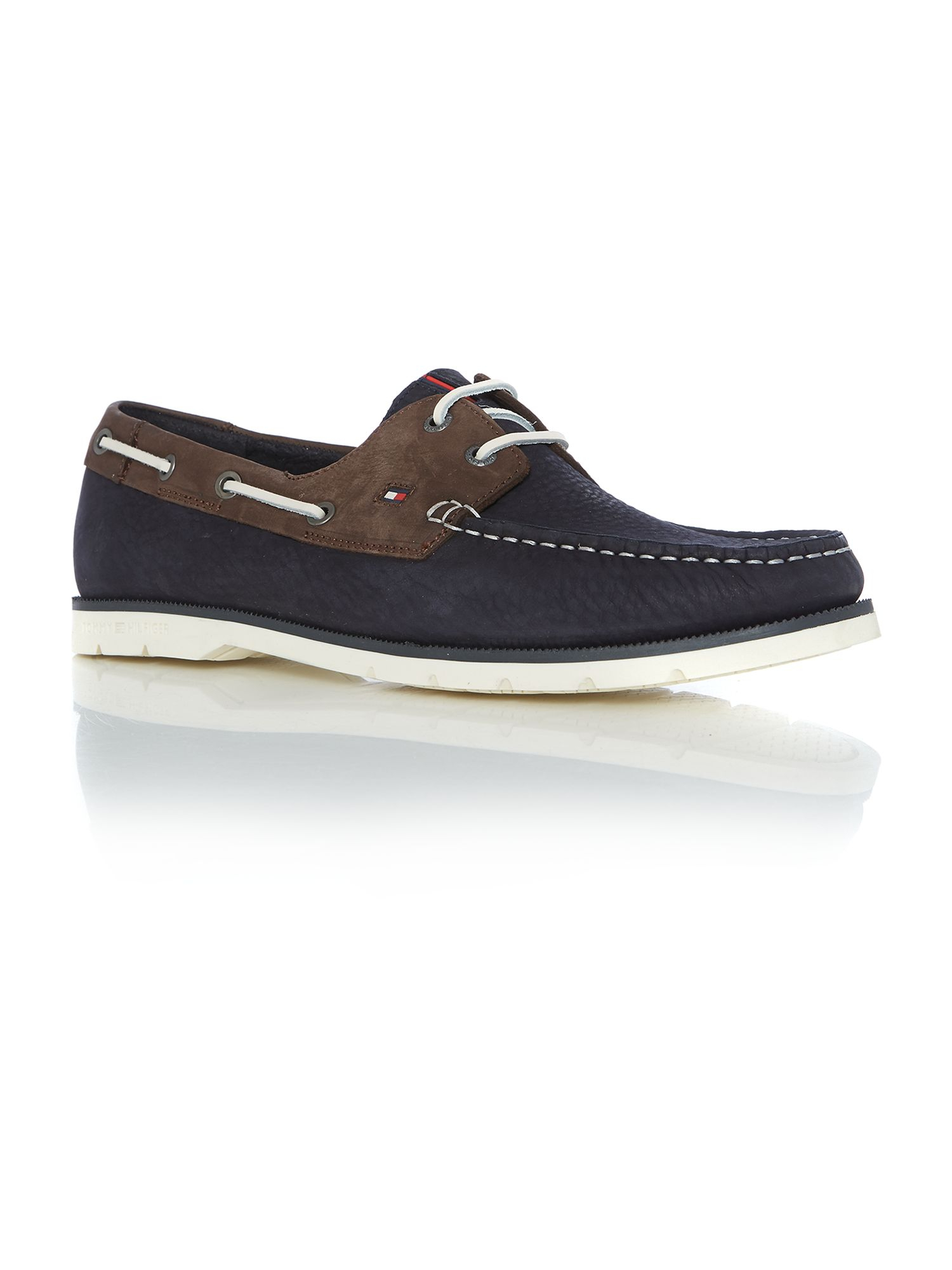 hilfiger cain lace up casual boat shoes in blue for