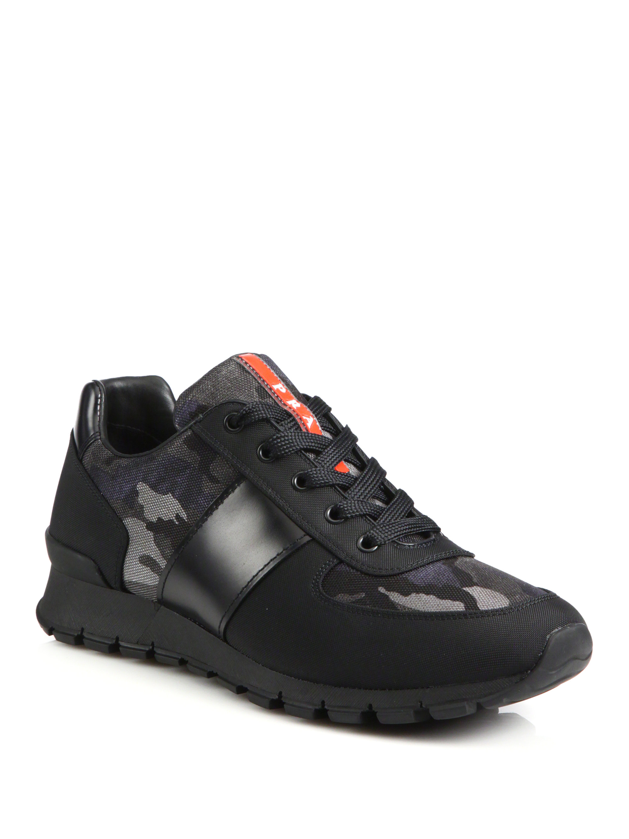 Prada Match Leather Amp Nylon Racing Sneakers In Black For