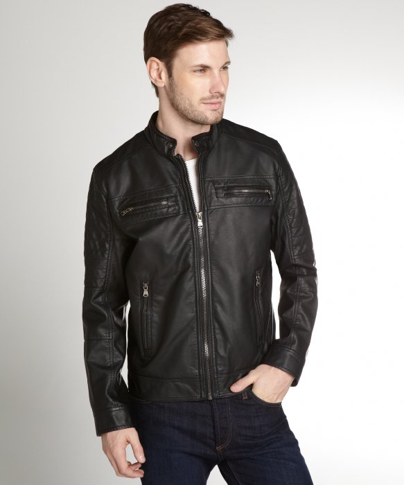 Lyst Calvin Klein Black Faux Leather Zip Front Moto