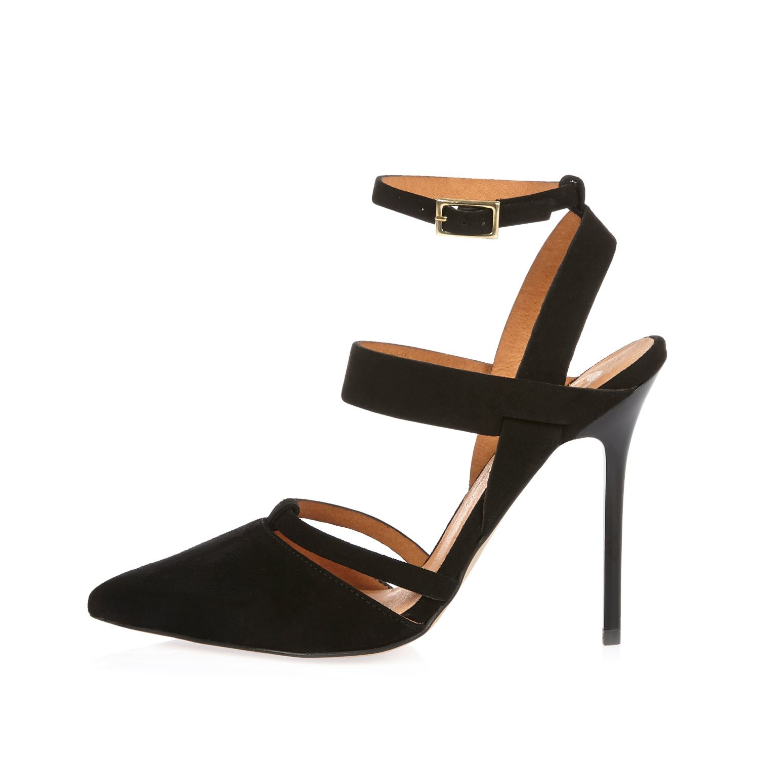 Leather Pointed Strappy Court Heels - Lyst