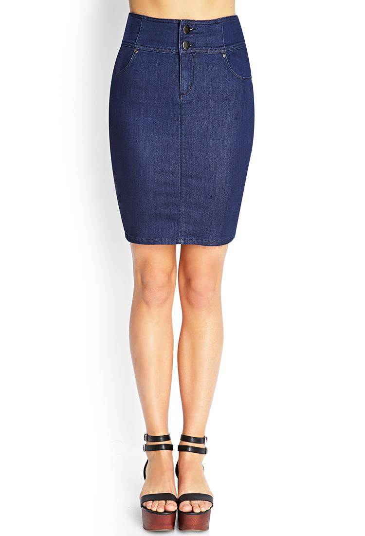 forever 21 highwaisted denim skirt in blue lyst