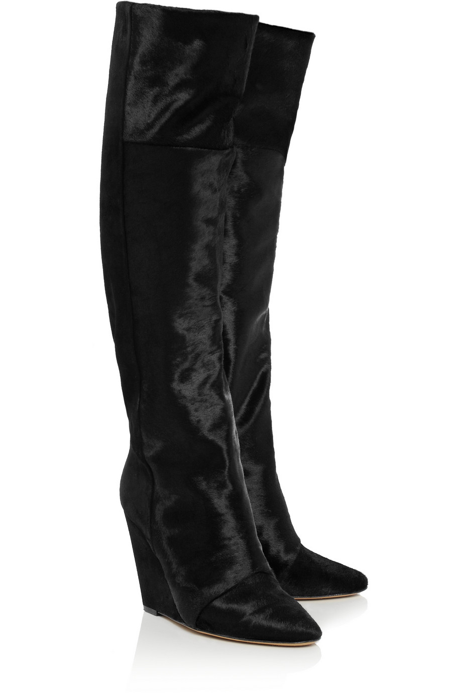 Isabel Marant Shelia Calf Hair And Suede Knee Boots in Black