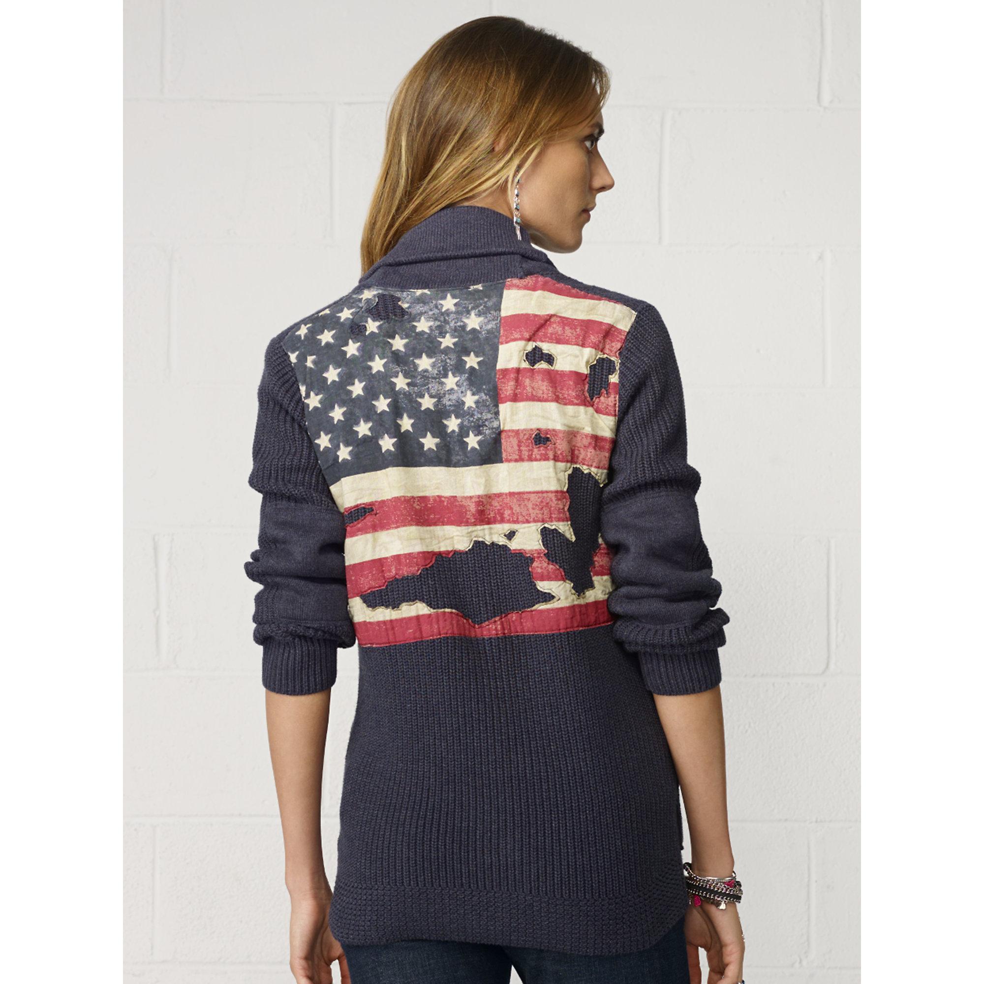 Ralph Lauren American Flag Shawl Sweater 68