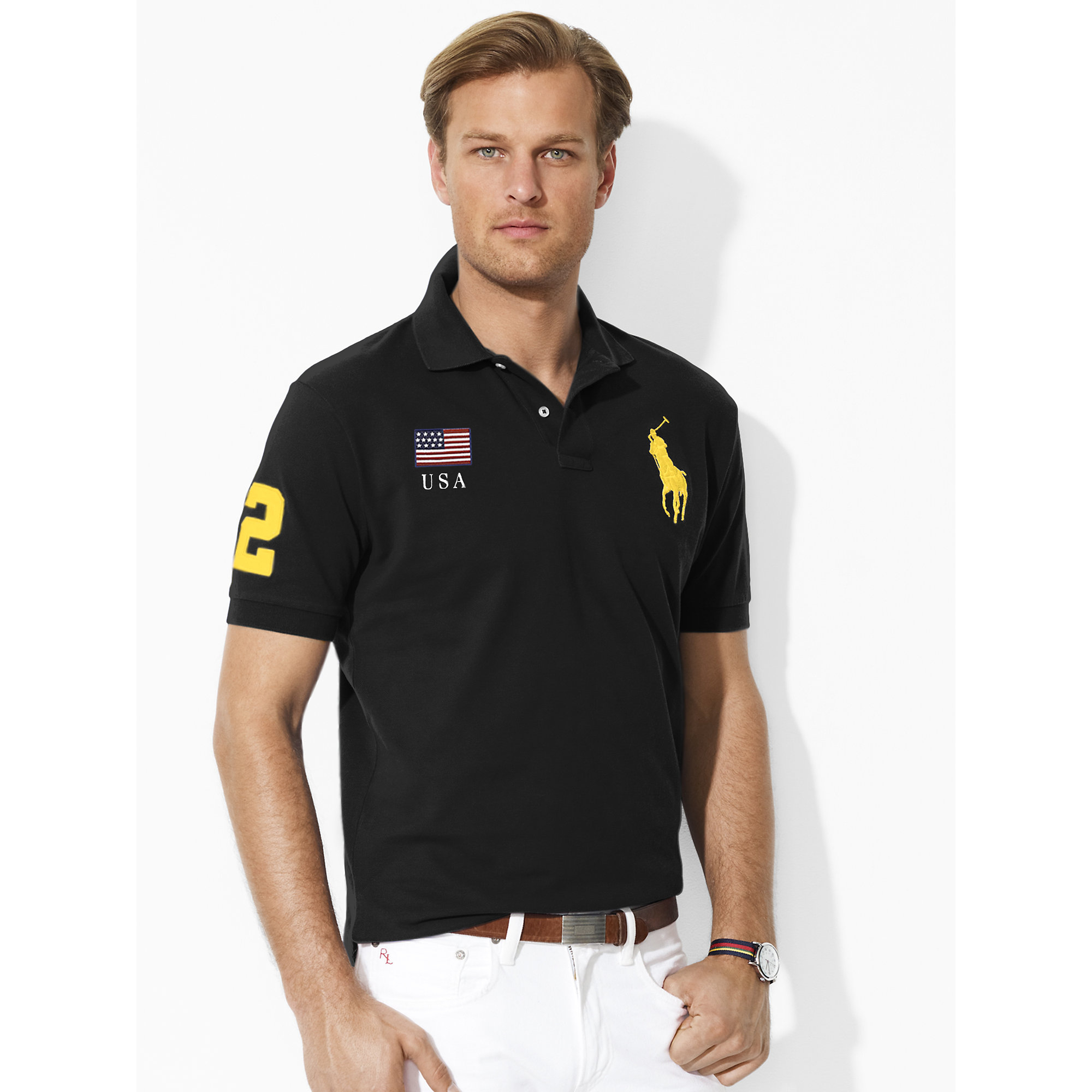 ralph lauren classic fit flag polo shirt in black for men polo black. Black Bedroom Furniture Sets. Home Design Ideas