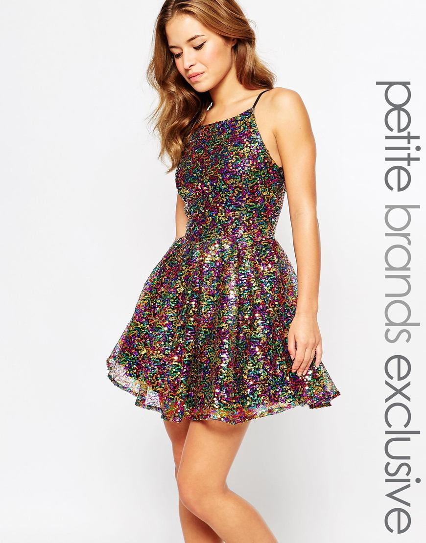 true decadence petite multi glitter halter skater dress multicolor product 0 209882294 normal