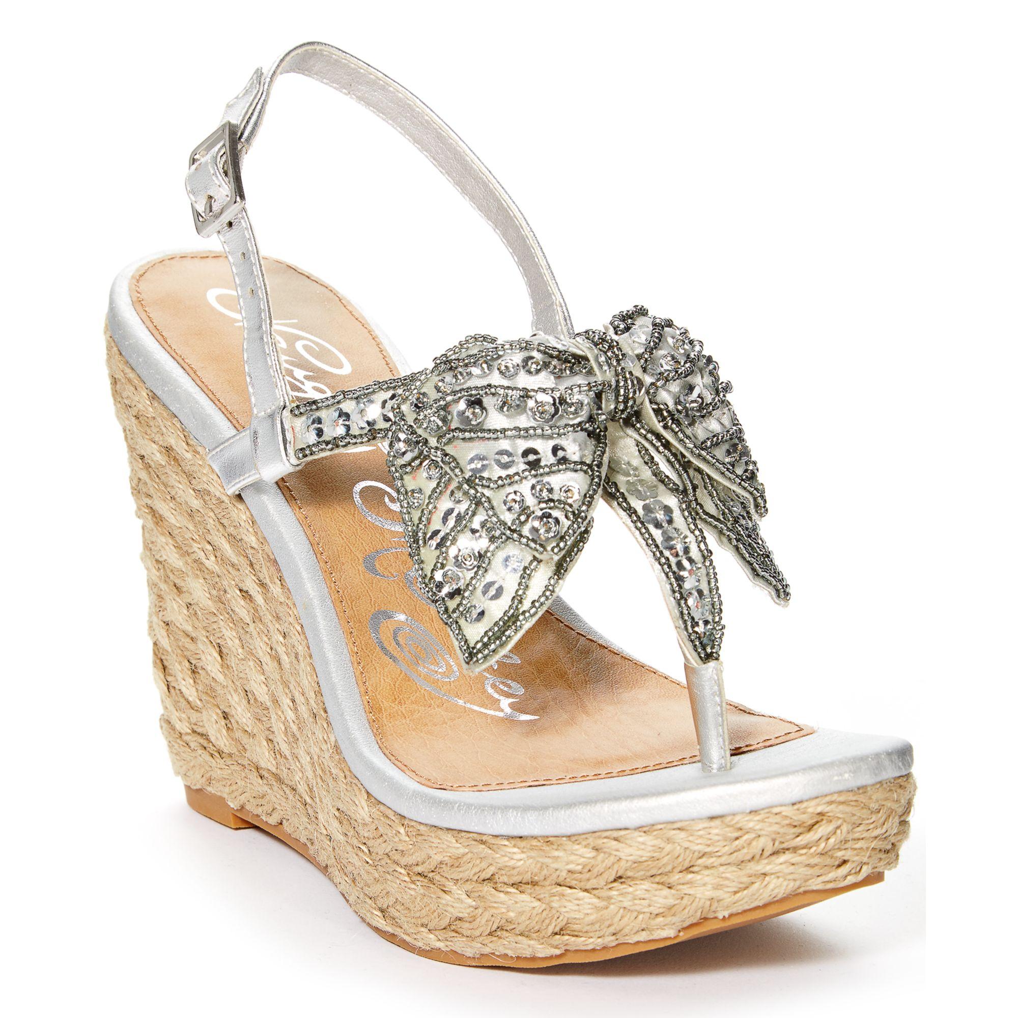6e5e5f798 Lyst - Naughty Monkey Feel Free Platform Wedge Thong Sandals in Metallic