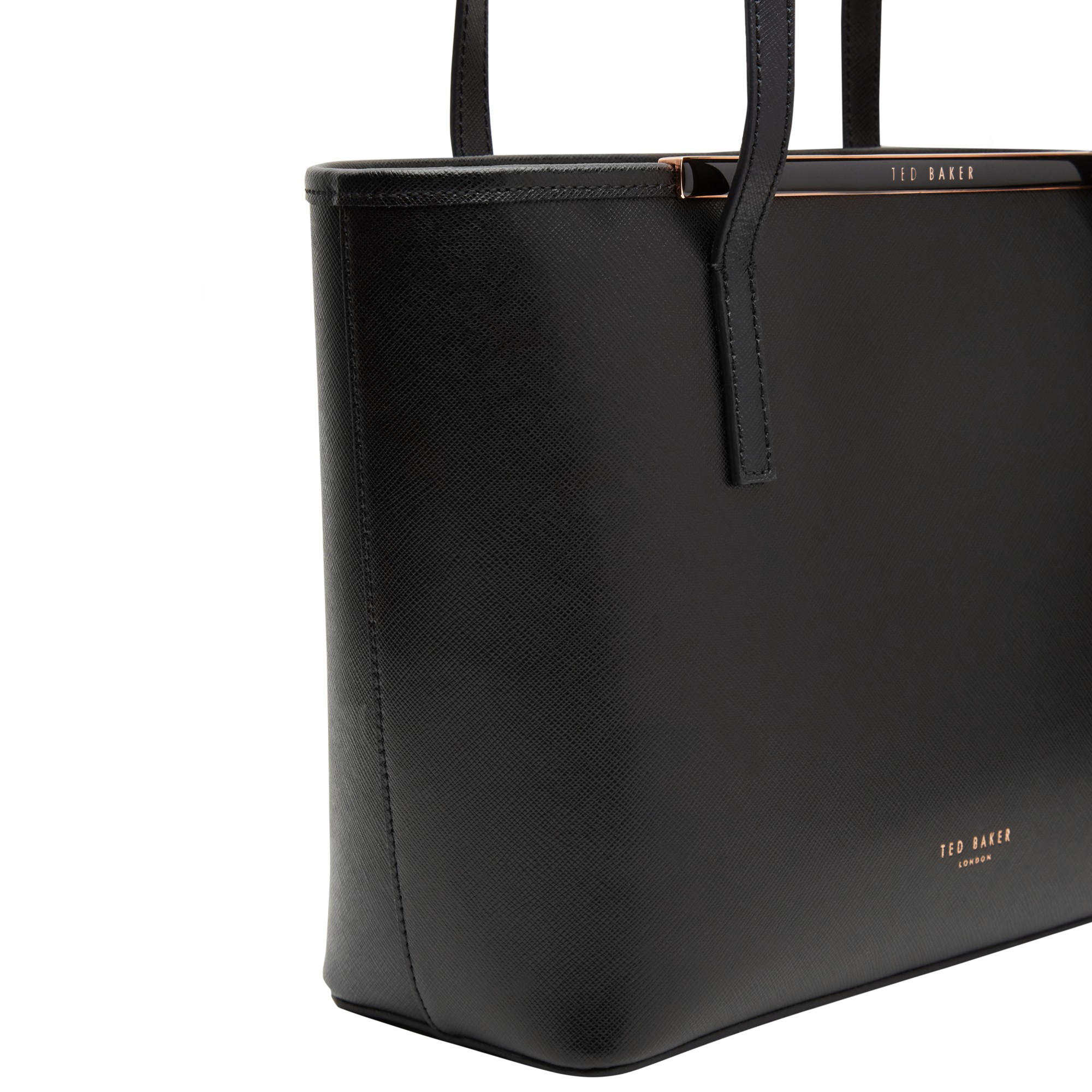 e6964b856651 Ted Baker Marela Crosshatch Leather Small Shopper Bag in Black - Lyst