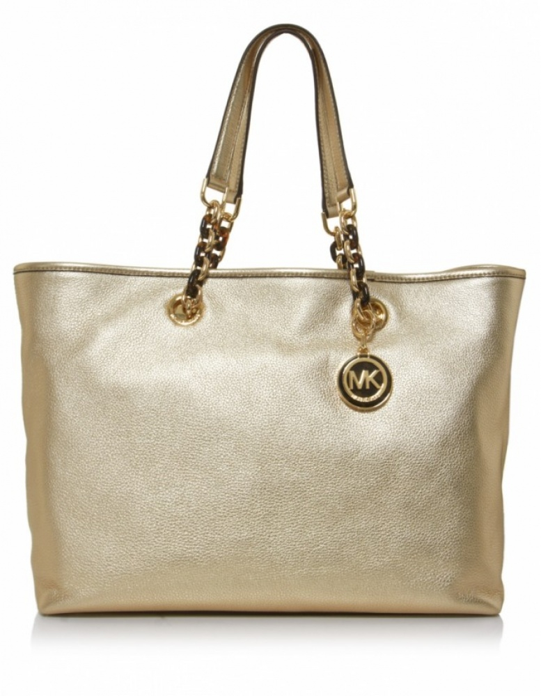 michael kors cynthia large tote bag in gold lyst. Black Bedroom Furniture Sets. Home Design Ideas