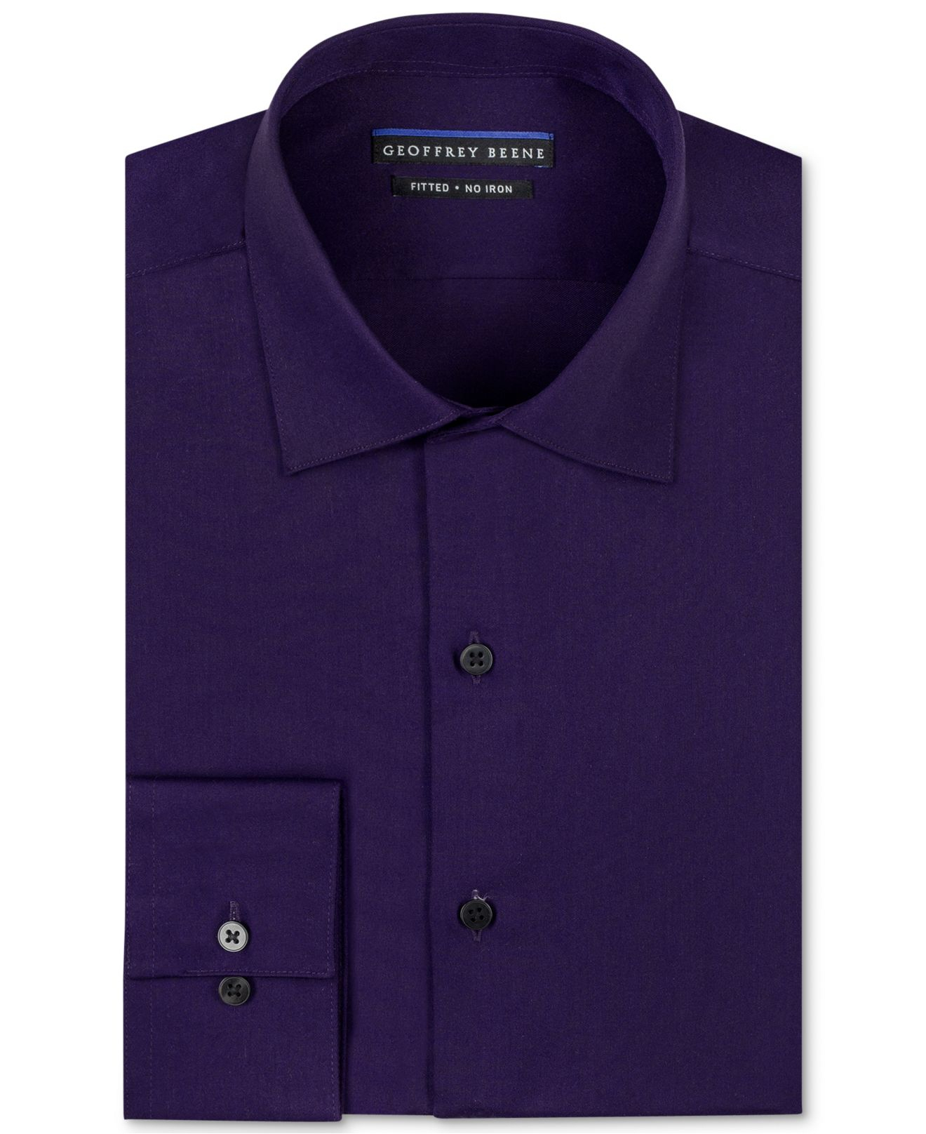 Geoffrey beene non iron fitted stretch sateen solid dress for How to stretch a dress shirt