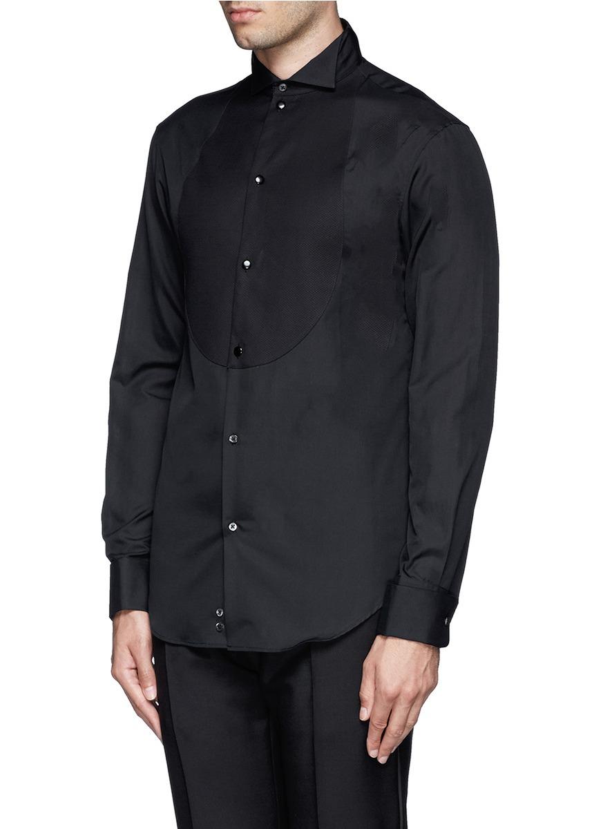 Lyst armani piqu bib tuxedo shirt in black for men for Tuxedo shirts for men
