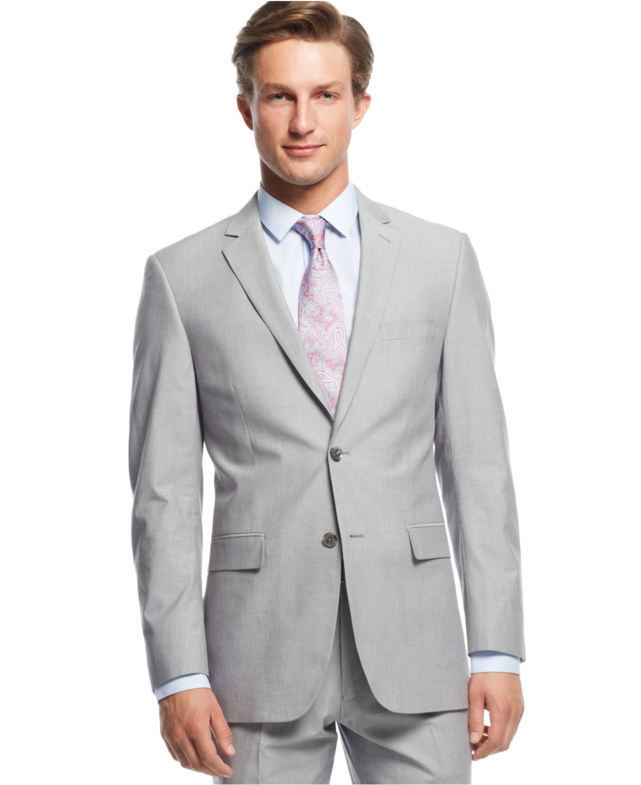 Perry ellis Light Grey Sharkskin Slim-fit Suit in Gray for Men | Lyst