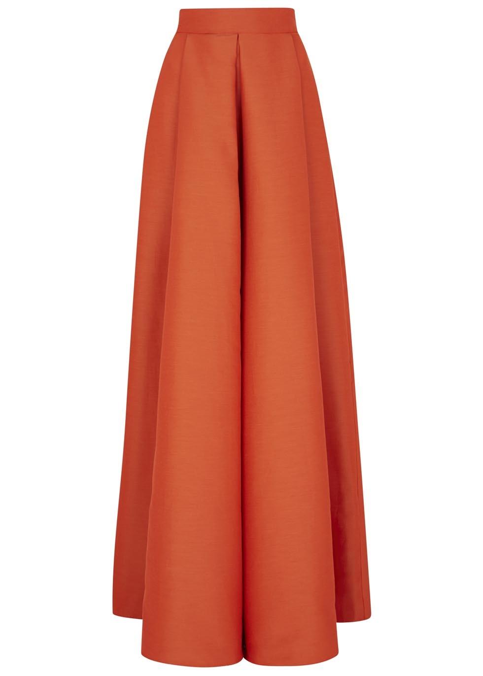 roksanda alia flared dupion maxi skirt in orange lyst