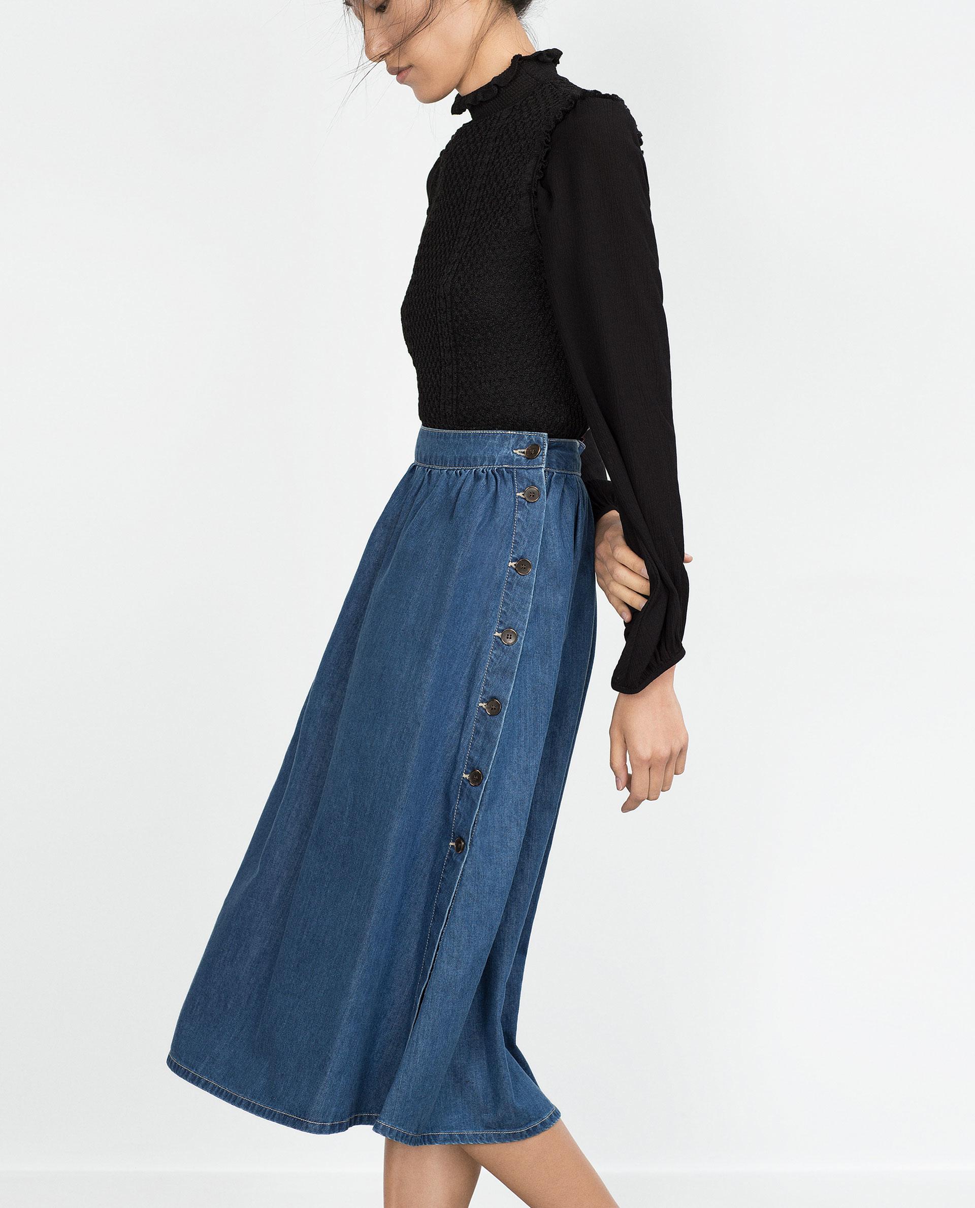 zara flowing denim skirt in blue lyst
