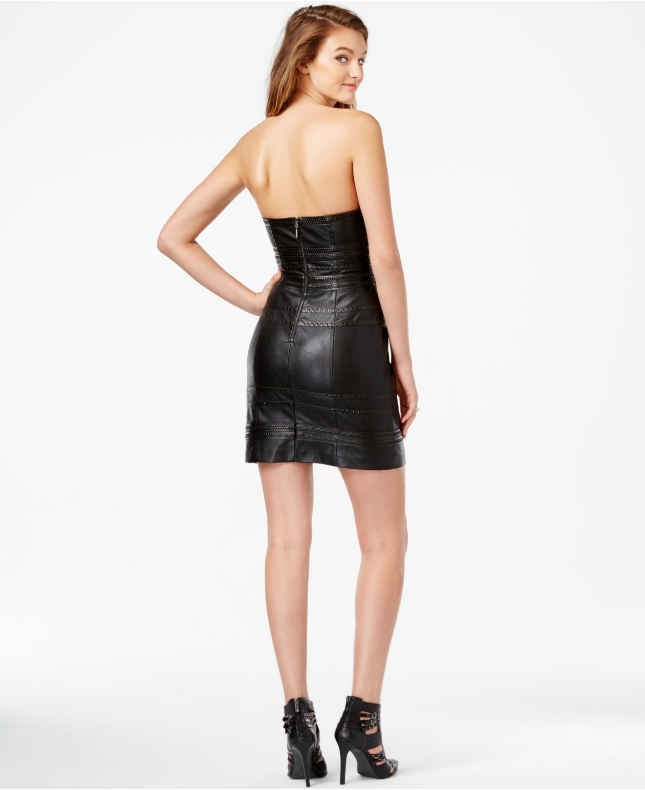 Guess Leather Look Black Dress for Women Faux Leather Women/'s Bodycon