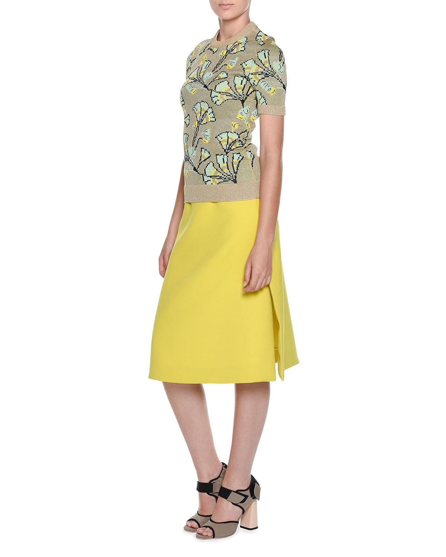 marni wool a line midi skirt in yellow lyst