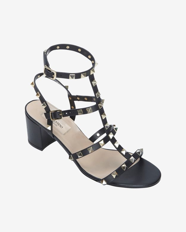 51698f5d162 Lyst - Valentino Rockstud Gladiator Mid Chunky Heel Sandal Black in ...