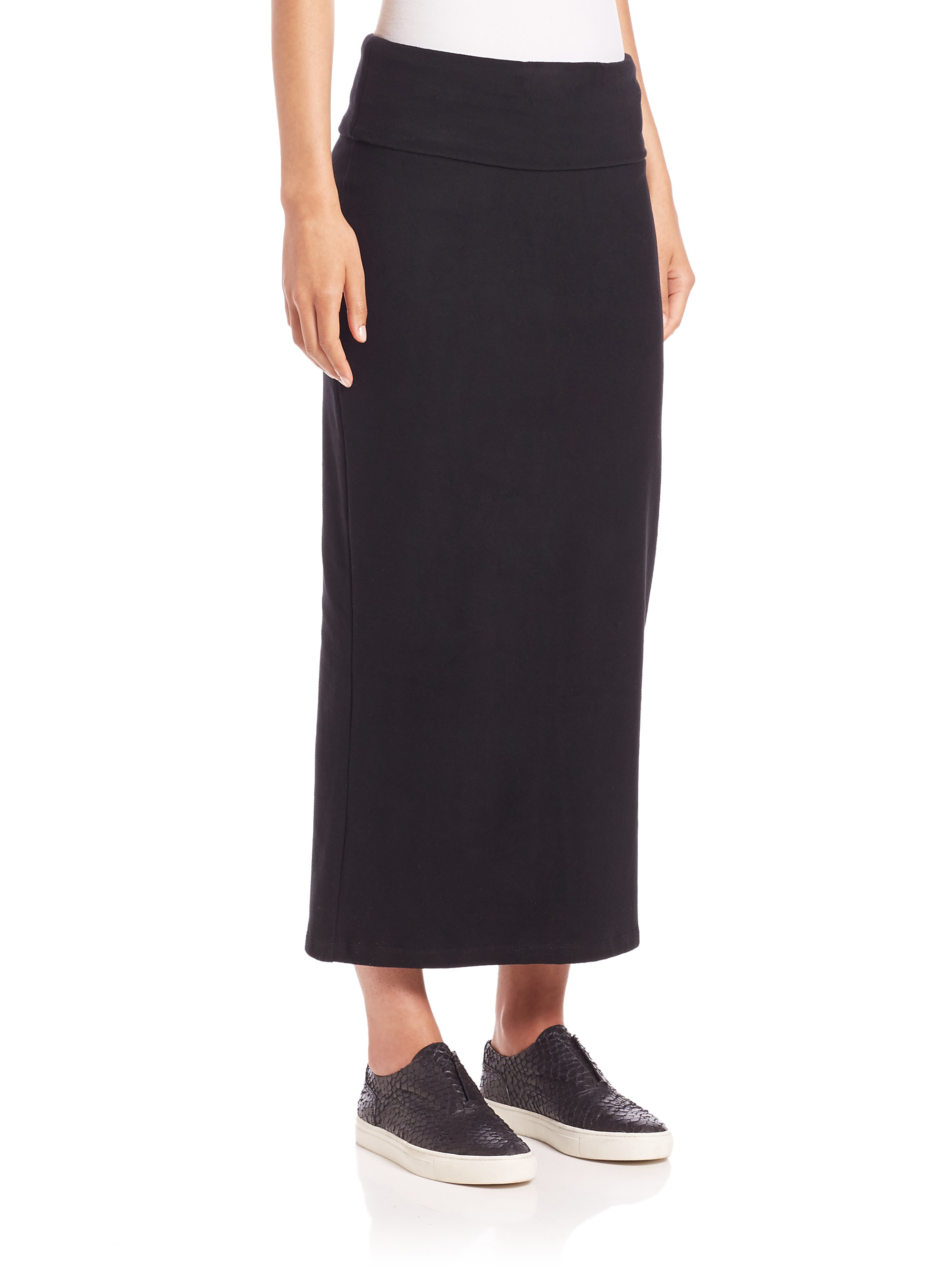James perse Knit Maxi Pencil Skirt in Black | Lyst