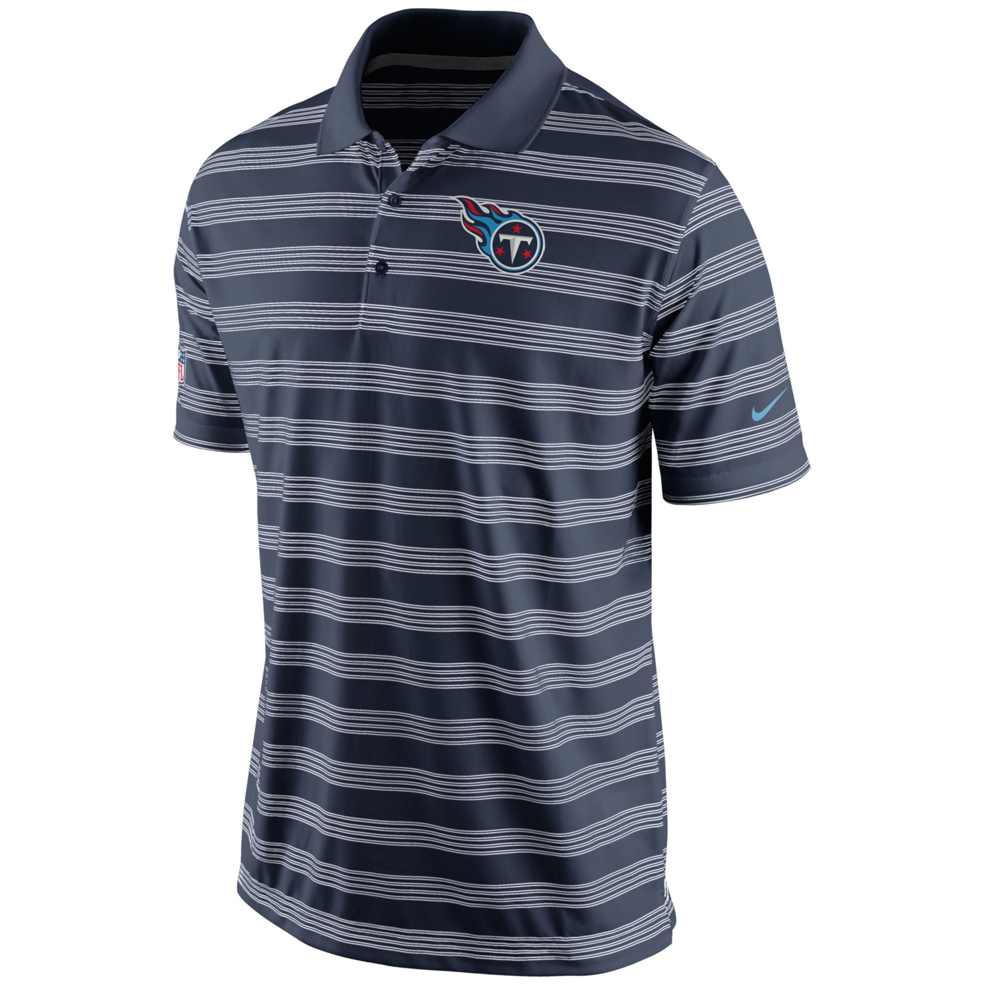 Nike men 39 s tennessee titans preseason polo shirt in blue for Navy blue and white nike shirt