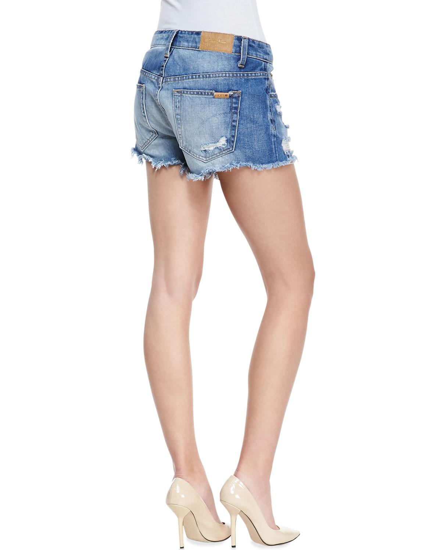 Joe's jeans Denim High-rise Cutoff Shorts in Blue | Lyst
