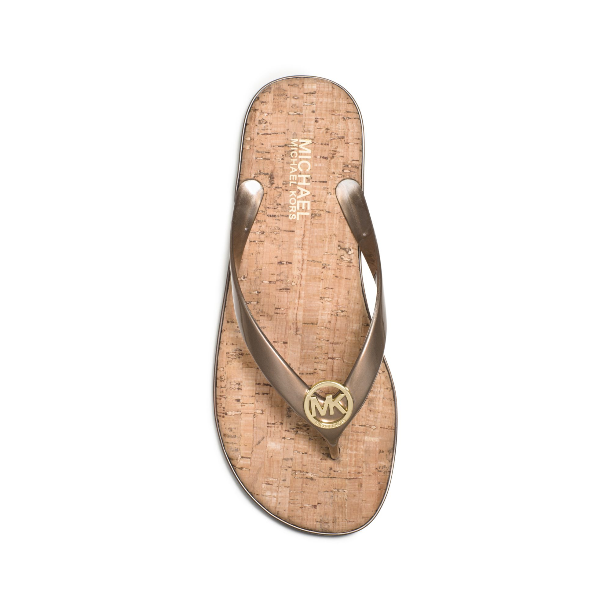 Lyst - Michael Kors Jet Set Cork Flip-Flop In Metallic-8201