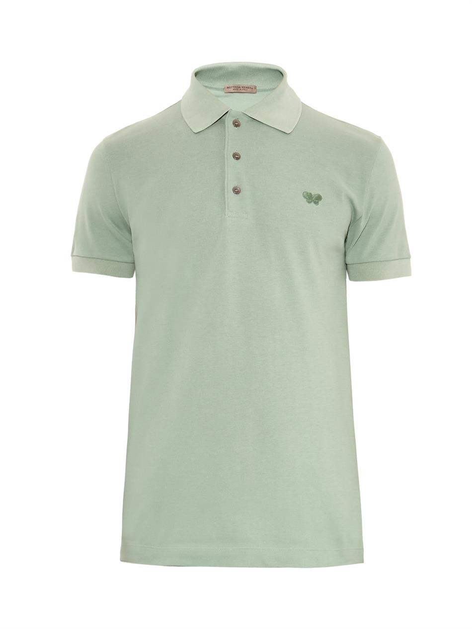 Lyst bottega veneta cotton piqu polo shirt in green for men for Bottega veneta t shirt