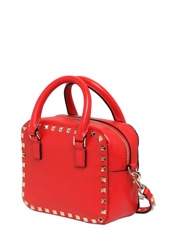 lyst valentino rockstud leather shoulder bag in red. Black Bedroom Furniture Sets. Home Design Ideas