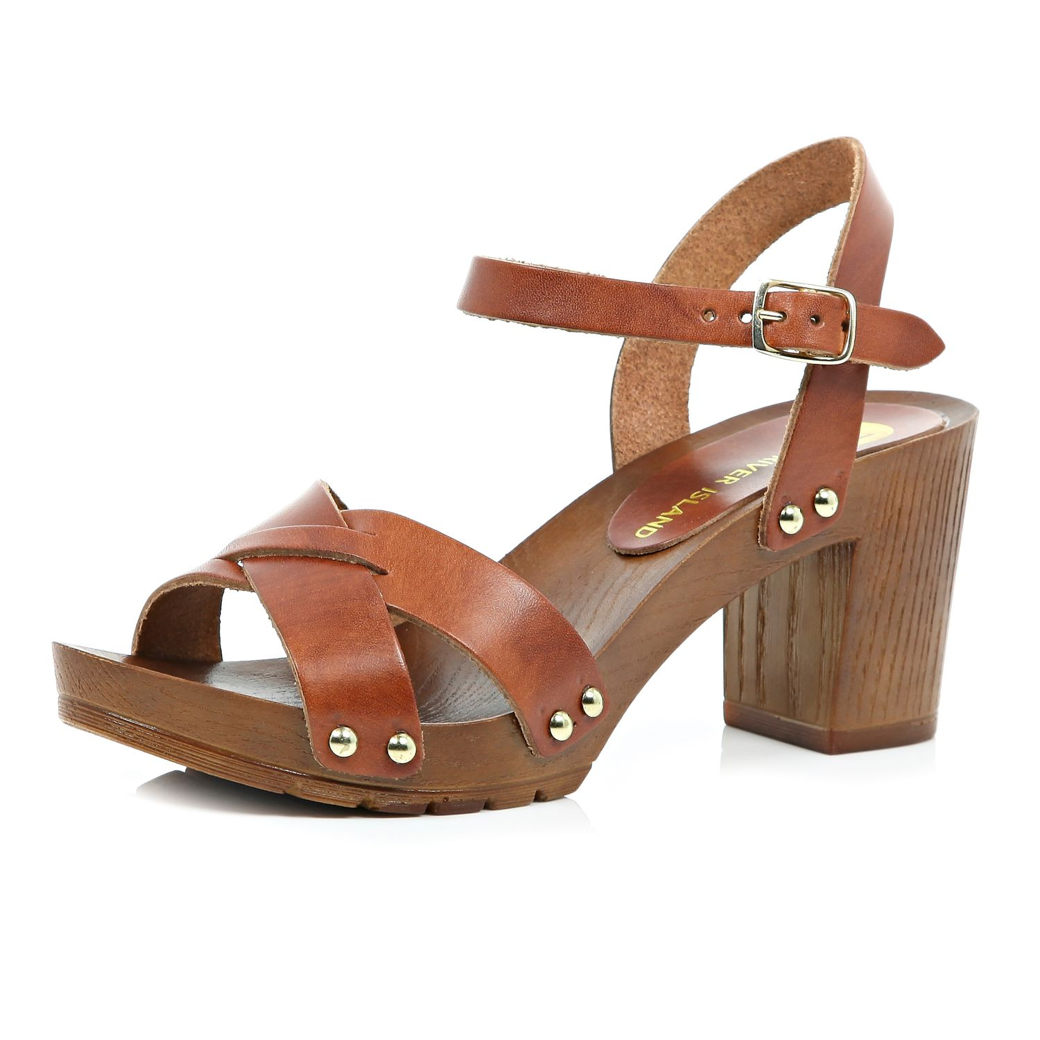 River Island Brown Leather Wooden Heel Clog Sandals In
