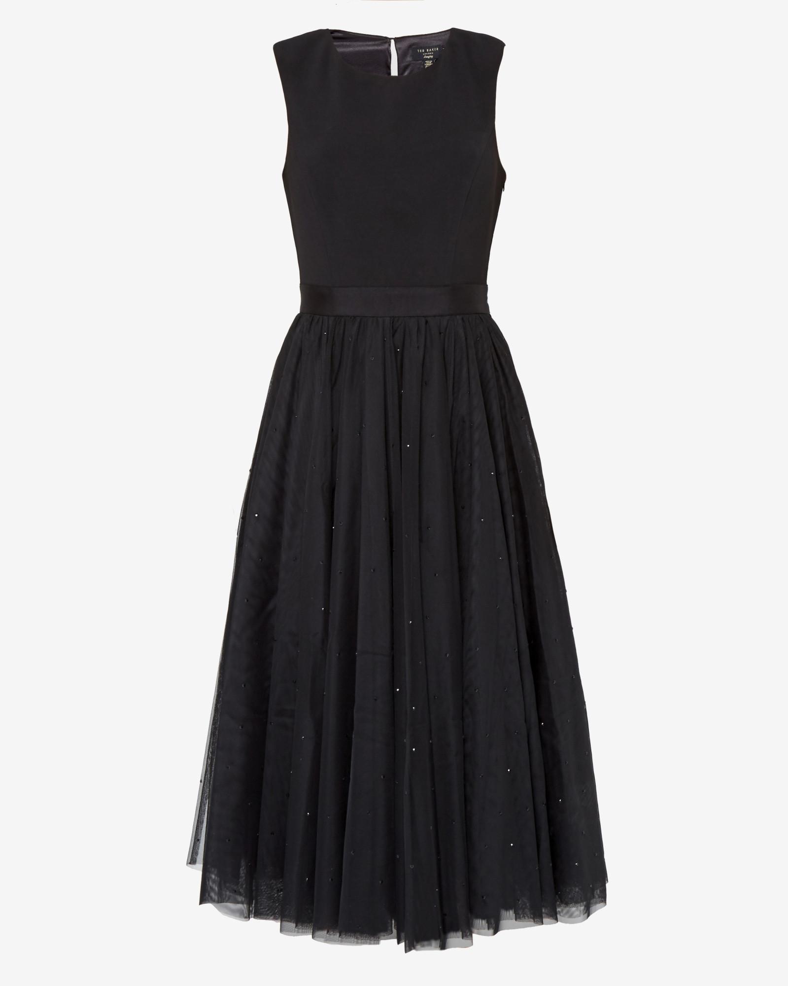 Ted Baker Embellished Full Skirt Tulle Dress In Black Lyst