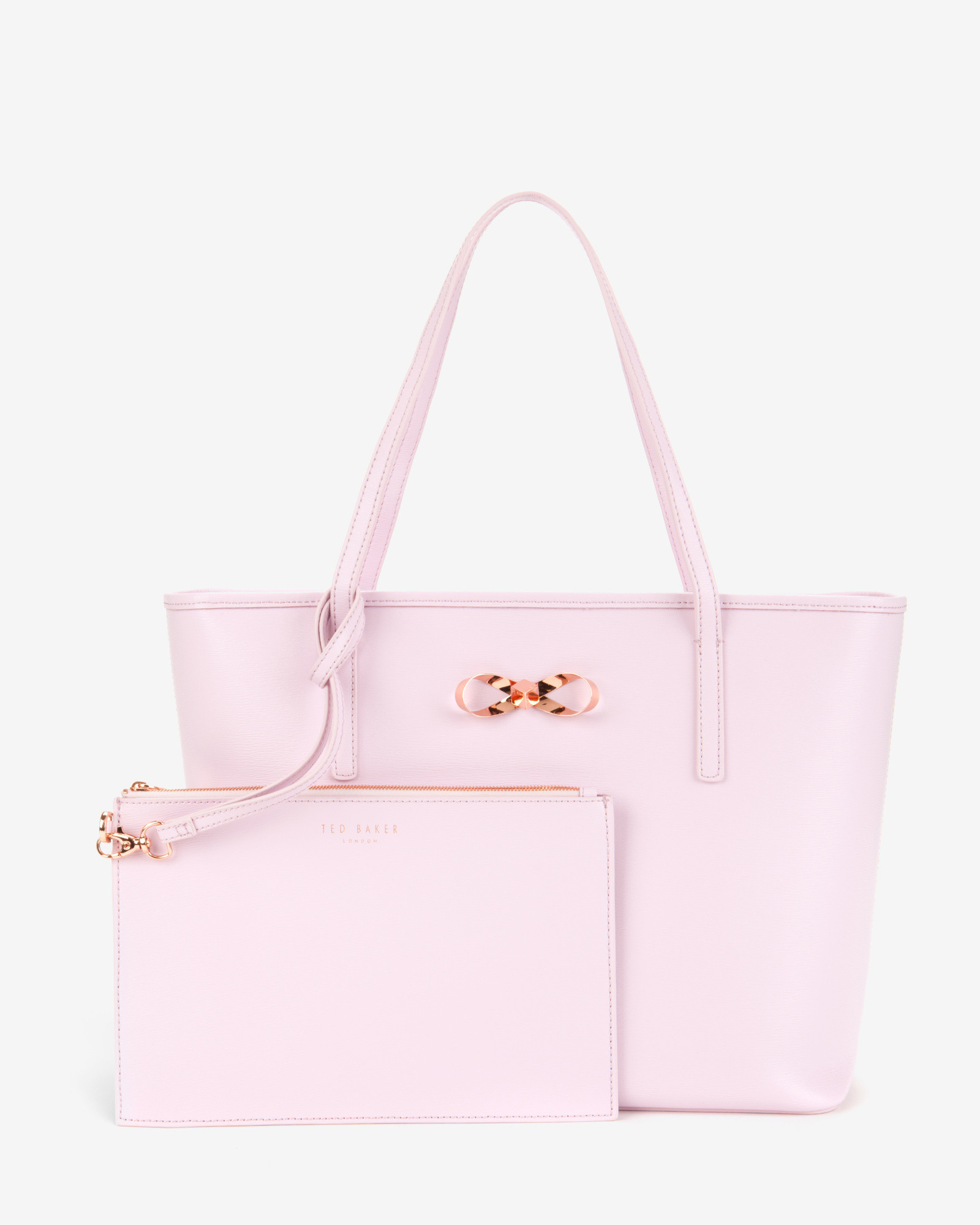 c8d7b1541619 Ted Baker Bow Detail Leather Shopper Bag in Pink - Lyst
