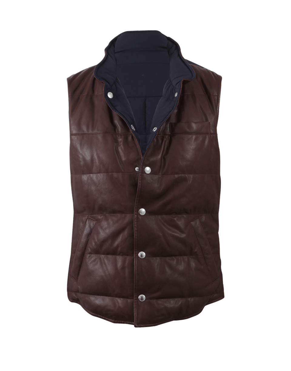 Brunello Cucinelli Reversible Quilted Leather Vest In Blue