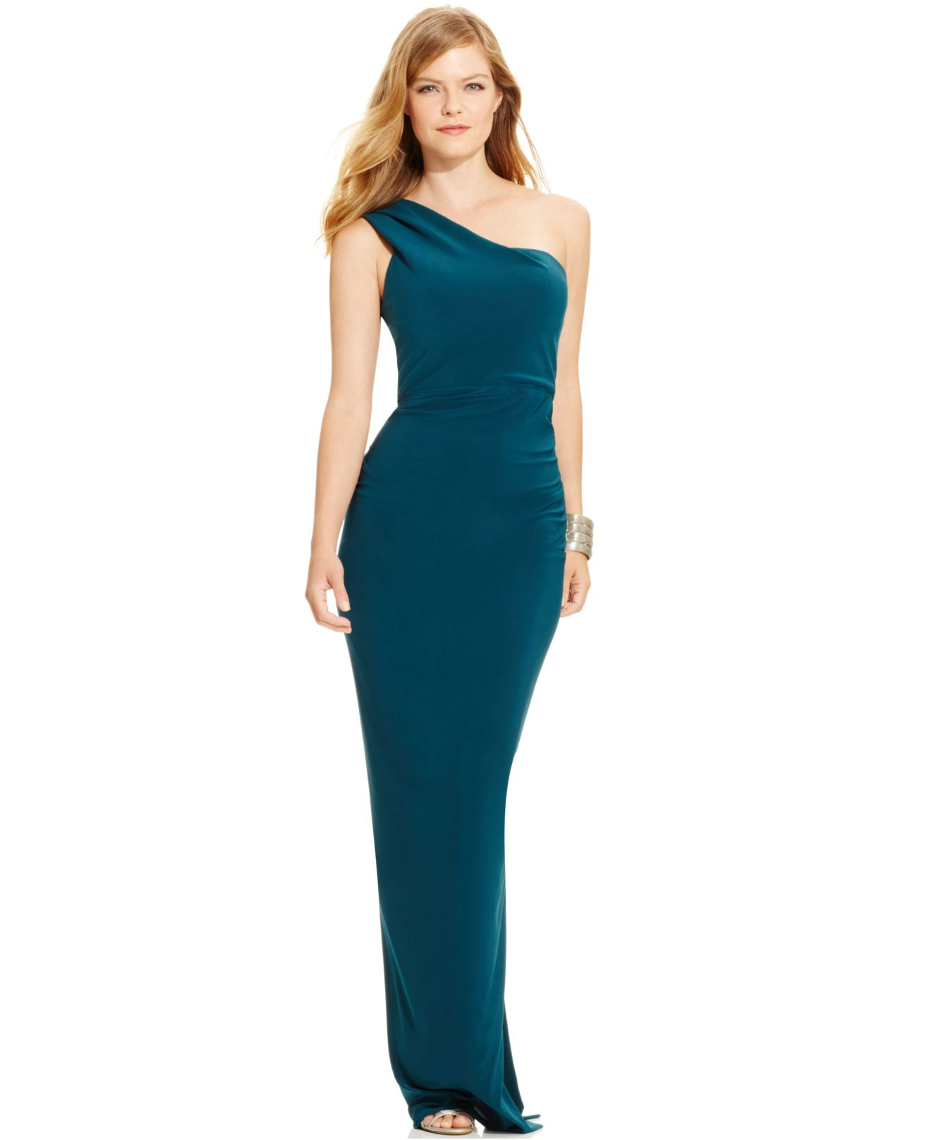 41434d36 Xscape Ruffle-back One-shoulder Gown in Blue - Lyst