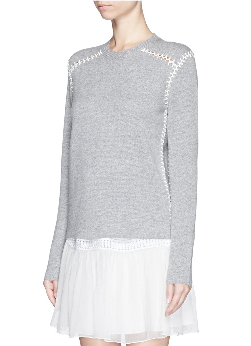 6ff429687353 Lyst - Chloé Blanket Stitch Cashmere Cotton Sweater in Gray