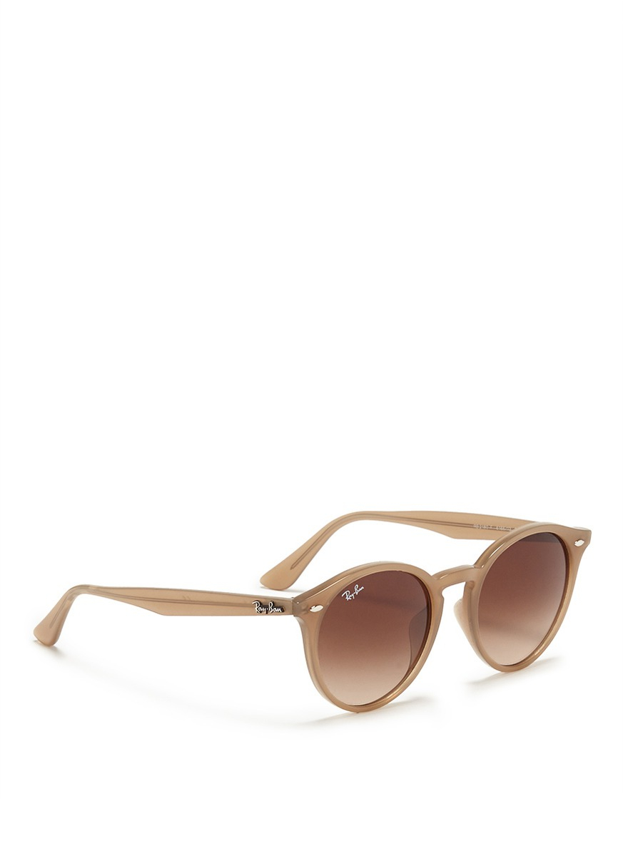 Ray-Ban Round Frame Acetate Sunglasses In Brown