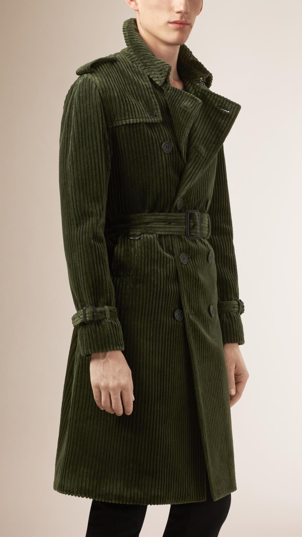 Burberry Corduroy Trench Coat In Green For Men Lyst