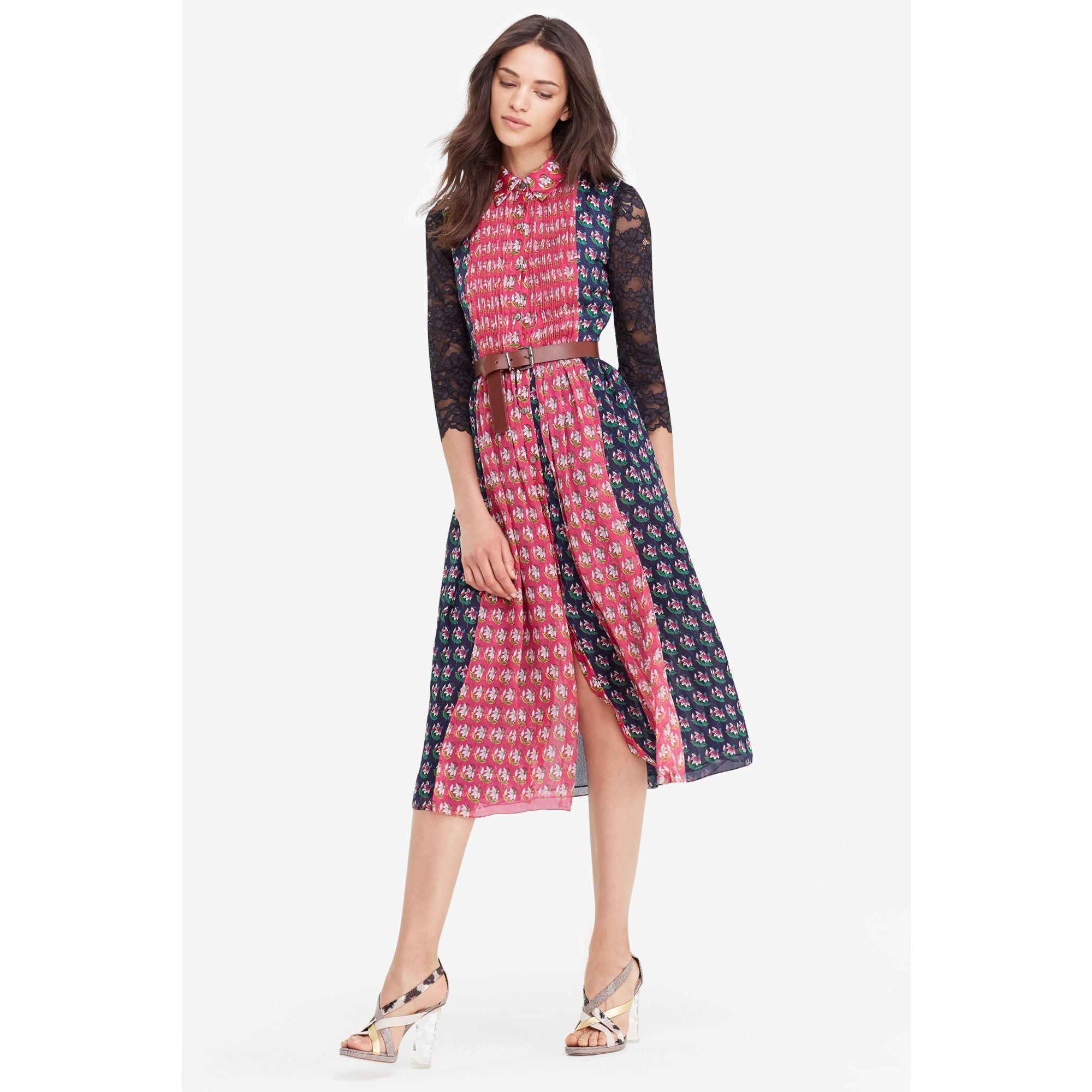 Lyst Diane Von Furstenberg Dvf Nieves Pleated Chiffon Shirt Dress