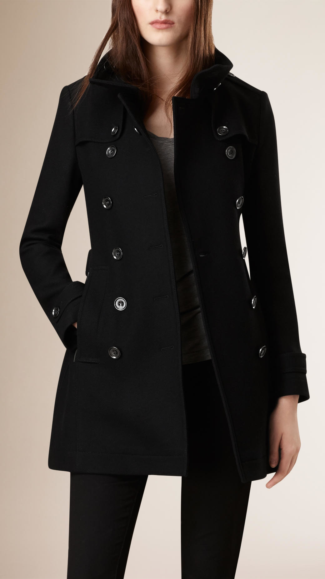 Burberry Short Double Wool Twill Trench Coat in Black | Lyst